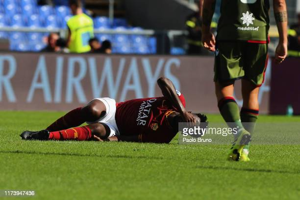 Amadou Diawara of AS Roma is injured during the Serie A match between AS Roma and Cagliari Calcio at Stadio Olimpico on October 6 2019 in Rome Italy