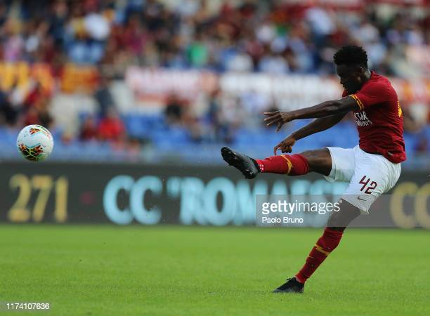 Amadou Diawara of AS Roma kicks the ball during the Serie A match between AS Roma and Cagliari Calcio at Stadio Olimpico on October 6, 2019 in Rome,...