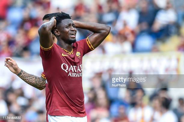 Amadou Diawara of AS Roma looks dejected during the Serie A match between Roma and Cagliari at Stadio Olimpico, Rome, Italy on 6 October 2019