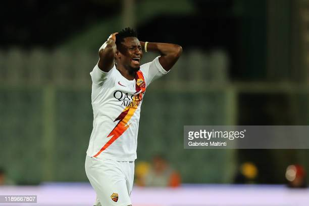 Amadou Diawara of AS Roma reacts during the Serie A match between ACF Fiorentina and AS Roma at Stadio Artemio Franchi on December 22, 2019 in...