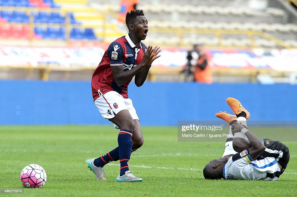 Amadou Diawara #21 of Bologna FC reacts during the Serie A match between Bologna FC and Udinese Calcio at Stadio Renato Dall'Ara on September 27, 2015 in Bologna, Italy.