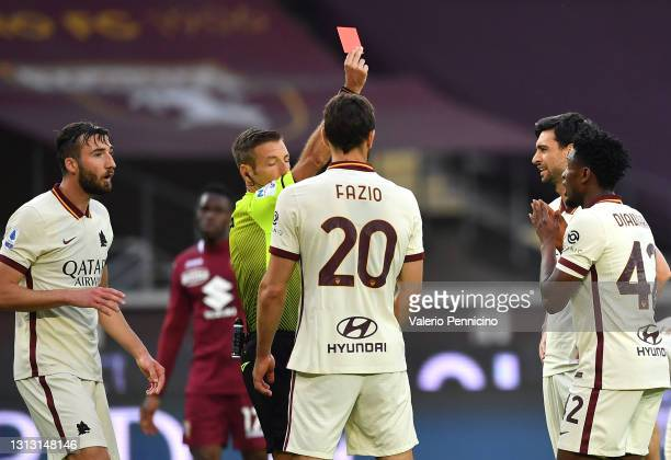 Amadou Diawara of Roma is shown a red card and sent off by referee Davide Massa during the Serie A match between Torino FC and AS Roma at Stadio...