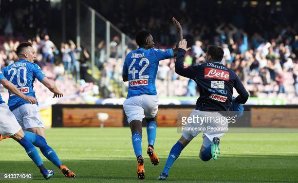 Amadou Diawara of SSC Napoli celebrates after scoring the 21 goal during the serie A match between SSC Napoli and AC Chievo Verona at Stadio San...