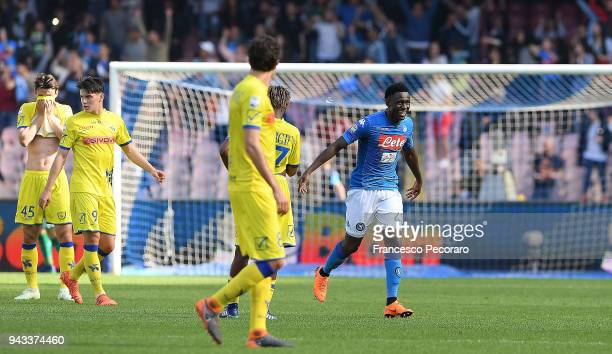 Amadou Diawara of SSC Napoli celebrates after scoring the 21 goal beside the disappointment players of AC Chievo Verona during the serie A match...