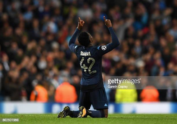 Amadou Diawara of SSC Napoli celebrates scoring his sides first goal during the UEFA Champions League group F match between Manchester City and SSC...