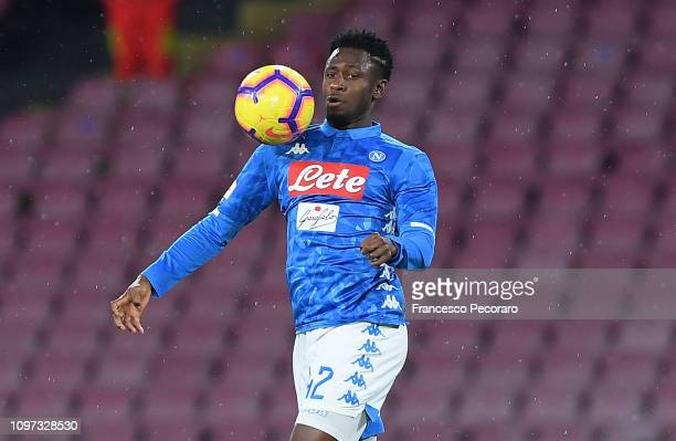 Amadou Diawara of SSC Napoli in action during the Serie A match between SSC Napoli and SS Lazio at Stadio San Paolo on January 20, 2019 in Naples,...