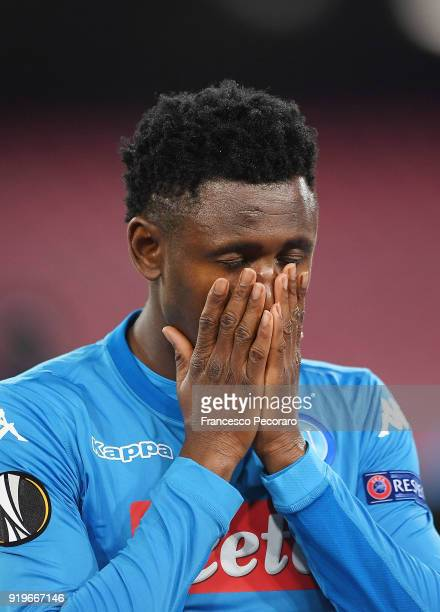 Amadou Diawara of SSC Napoli in action during UEFA Europa League Round of 32 match between Napoli and RB Leipzig at the Stadio San Paolo on February...