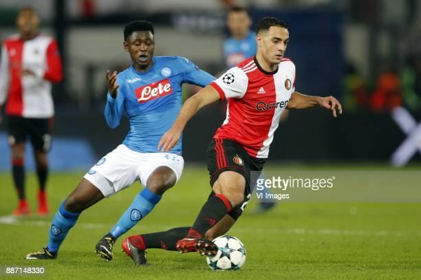 Amadou Diawara of SSC Napoli Sofyan Amrabat of Feyenoord during the UEFA Champions League group F match between Feyenoord Rotterdam and SSC Napoli at...
