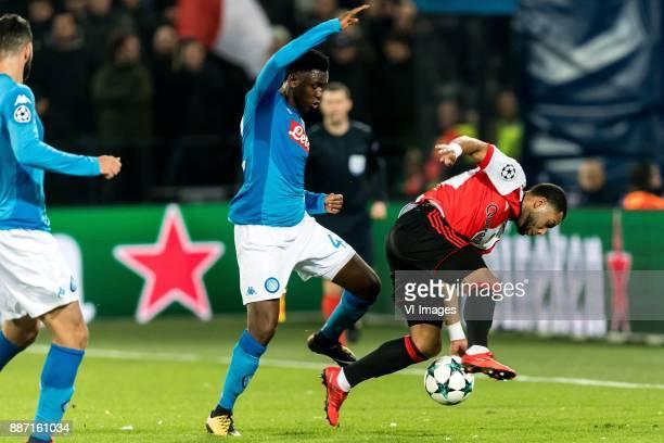 Amadou Diawara of SSC Napoli Tonny Vilhena of Feyenoord during the UEFA Champions League group F match between Feyenoord Rotterdam and SSC Napoli at...