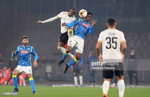 Amadou Diawara of SSC Napoli vies Assan Ceesay of FC Zurich during the UEFA Europa League Round of 32 Second Leg match between SSC Napoli v FC Zurich...