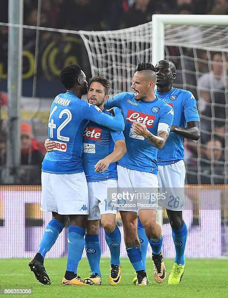 Amadou DiawaraMarek Hamsik Kalidou Koulibaly and Dries Mertens of SSC Napoli celebrate the 11 goal scored by Dries Mertens during the Serie A match...