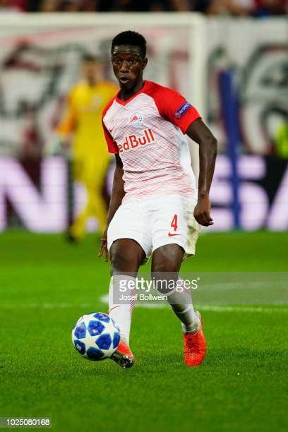 Amadou Haidara of FC Salzburg kicks the ball during the UEFA Champions League match between FC Salzburg v Red Star Belgrade at Red Bull Arena on...