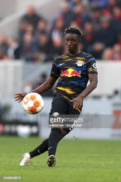 Amadou Haidara of Leipzig runs with the ball during the Bundesliga match between Sport-Club Freiburg and RB Leipzig at Europa Park Stadion on October...