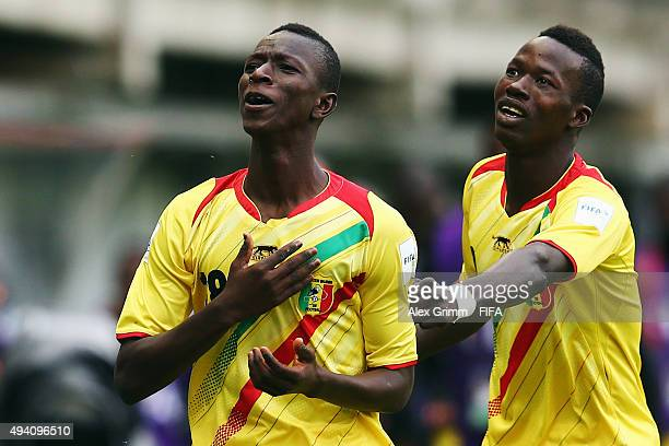 Amadou Haidara of Mali celebrates his team's first goal with team mate Aly Malle during the FIFA U17 World Cup Chile 2015 Group D match between Mali...