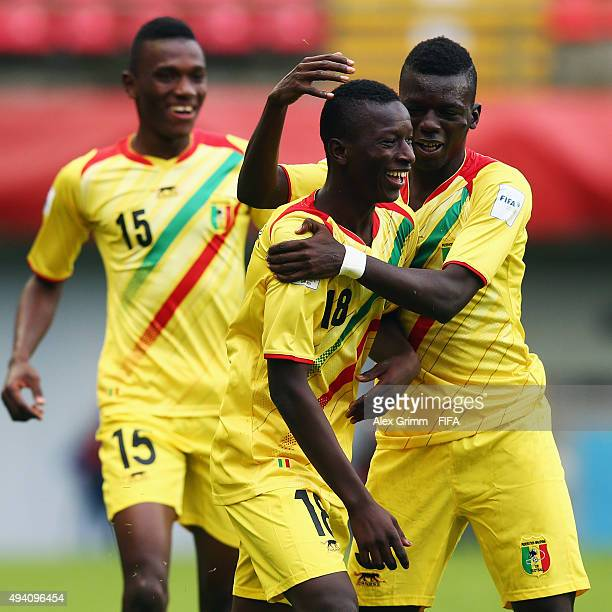 Amadou Haidara of Mali celebrates his team's first goal with team mates during the FIFA U17 World Cup Chile 2015 Group D match between Mali and...