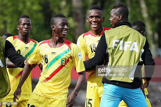 Amadou Haidara of Mali celebrates with Alou Traore and Mamadou Fofana after scoring a goal during the FIFA U17 World Cup Chile 2015 Round of 16 match...