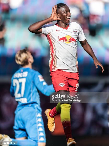 Amadou Haidara of RB Leipzig celebrates after scoring his team's third goal during the Bundesliga match between RB Leipzig and 1. FSV Mainz 05 at Red...