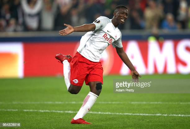 Amadou Haidara of Red Bull Salzburg celebrates scoring the first goal during the UEFA Europa Semi Final Second leg match between FC Red Bull Salzburg...