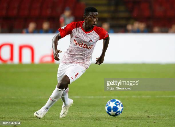 Amadou Haidara of Red Bull Salzburg in action during the UEFA Champions League Play Off First Leg match between FK Crvema Zvezda and FC Red Bull...
