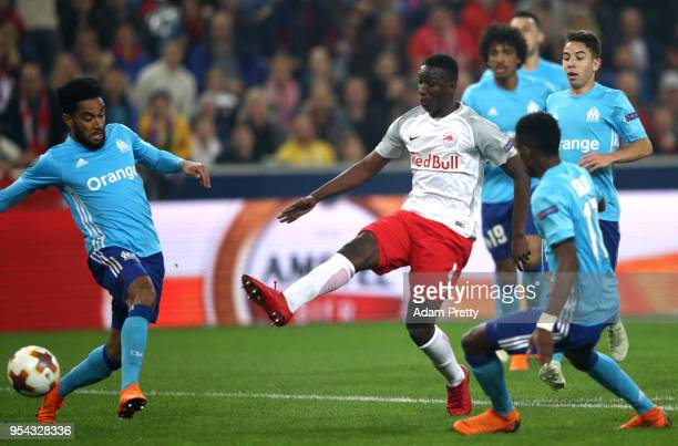 Amadou Haidara of Red Bull Salzburg scores the first goal during the UEFA Europa Semi Final Second leg match between FC Red Bull Salzburg and...