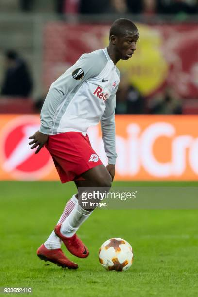 Amadou Haidara of Salzburg controls the ball during UEFA Europa League Round of 16 second leg match between FC Red Bull Salzburg and Borussia...