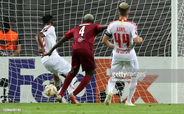 Amadou Haidara of Salzburg scores the second goal during the UEFA Europa League Group B match between RB Leipzig and FC Salzburg at Red Bull Arena on...