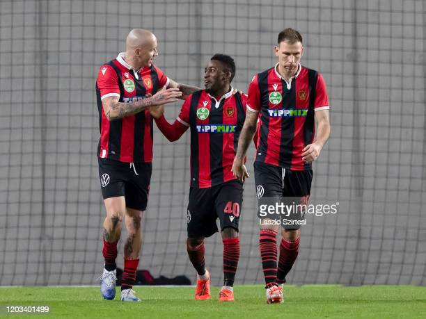 Amadou Moutari of Budapest Honved celebrates his goal with Tonci Kukoc of Budapest Honved and Ivan Lovric of Budapest Honved during the Hungarian OTP...