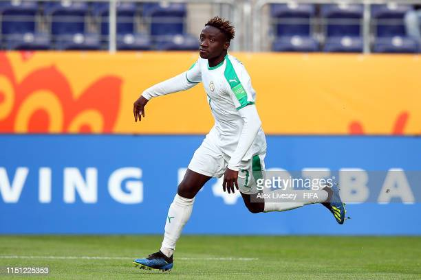 Amadou Sagna of Senegal celebrates scoring a hatrick during the 2019 FIFA U20 World Cup group A match between Tahiti and Senegal at Arena Lublin on...