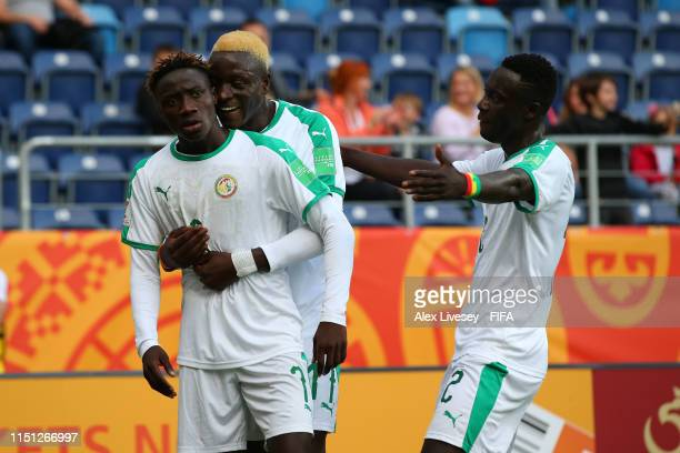 Amadou Sagna of Senegal celebrates with Dion Lopy after scoring his second goal during the 2019 FIFA U-20 World Cup group A match between Tahiti and...