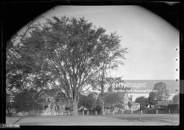 Amagansett / Wainscott, Long Island: unidentified houses lining a road, New York, New York, late 19th or early 20th century.