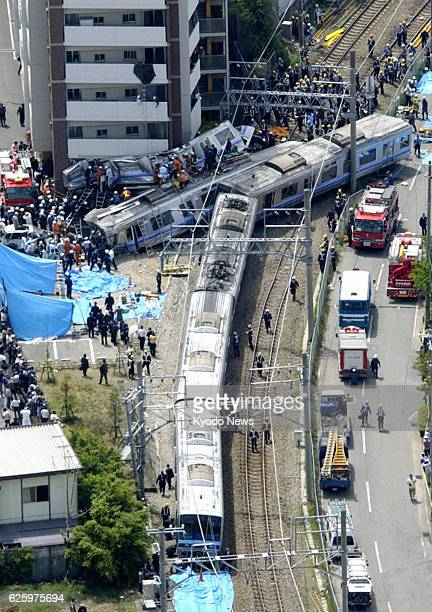 Amagasaki Japan File photo shows a train crash at an apartment building after a derailment in Amagasaki Hyogo Prefecture on April 25 in which 107...