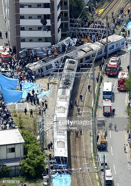 Amagasaki Japan Photo shows the scene of the April 25 derailment of a West Japan Railway Co commuter train on the Fukuchiyama Line in Amagasaki Hyogo...