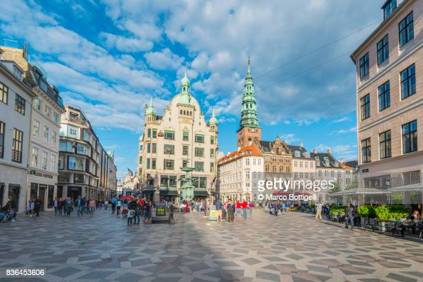 amagertorv, copenhagen. - pedestrian zone stock pictures, royalty-free photos & images