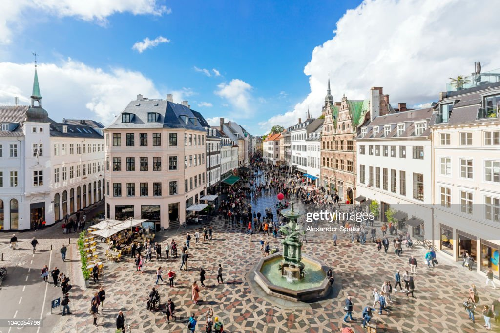 Amagertorv town square in Copenhagen on a sunny day, high angle view, Denmark : Stock Photo