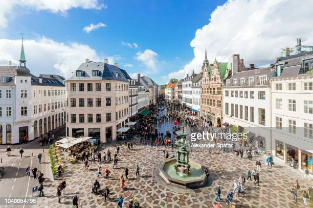 amagertorv town square in copenhagen on a sunny day, high angle view, denmark - pedestrian zone stock pictures, royalty-free photos & images