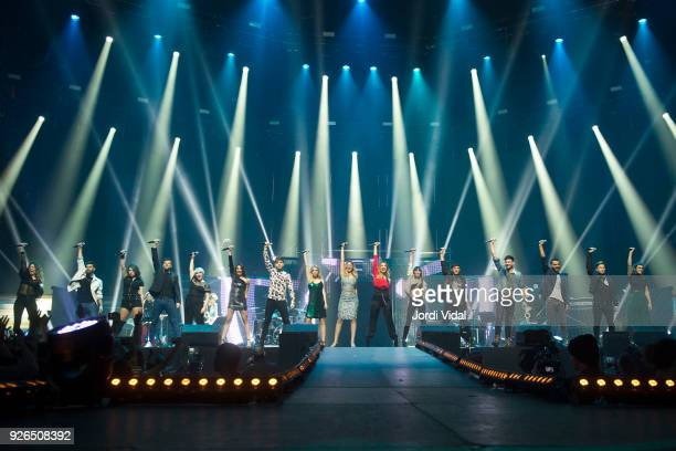 Amaia Agoney Thalia Ricky Marina Ana Roy Nerea Mireya Mimi Aitana Alfred Cepeda Juan Antonio and Raoul of Operacion Triunfo perform on stage during...