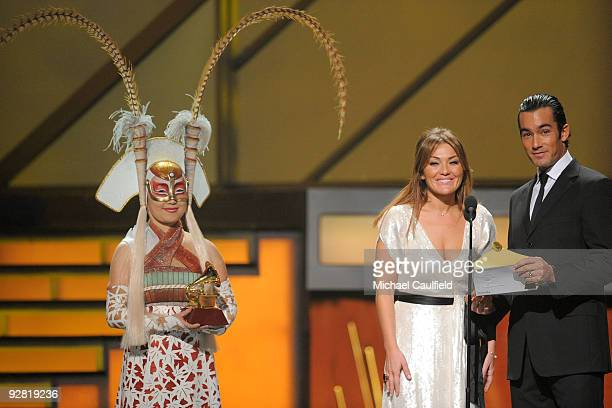 Amaia Montero and Aaron Diaz speak onstage at the 10th Annual Latin GRAMMY Awards held at the Mandalay Bay Events Center on November 5 2009 in Las...