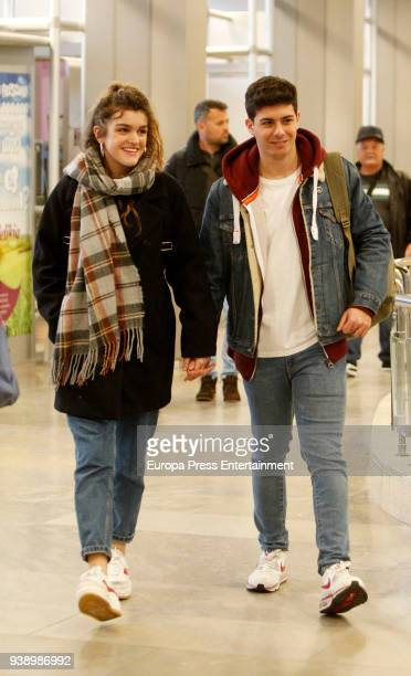 Amaia Romero and Alfred Garcia are seen at airport on March 14 2018 in Madrid Spain