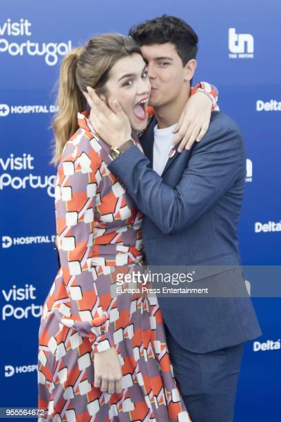 Amaia Romero and Alfred Garcia attend the red carpet before the Eurovision private party on May 6 2018 in Lisbon Portugal