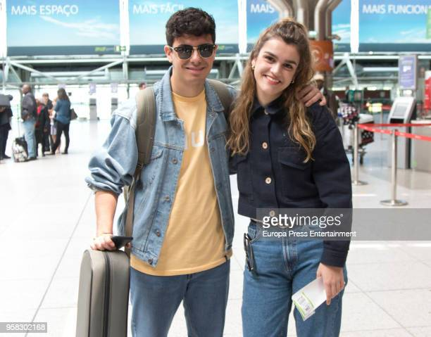Amaia Romero and Alfred Garcia of Spain are seen at Liboa airport on May 13 2018 in Lisbon Portugal