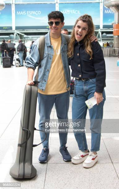 Amaia Romero and Alfred Garcia of Spain are seen at Liboa airport on May 13, 2018 in Lisbon, Portugal.