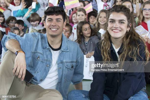Amaia Romero and Alfred Garcia of Spain visit the Spanish Institute In Lisbon some days before taking part at 2018 Eurovision Song Contest on May 8...