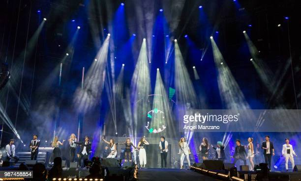 Amaia Romero and Alfred Garcia perform during 'Operacion Triunfo' concert in Santiago Bernabeu stadium on June 29 2018 in Madrid Spain