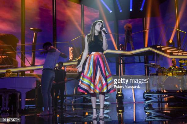 Amaia Romero performs on stage for Operacion Triunfo Eurovision contest on January 29 2018 in Barcelona Spain