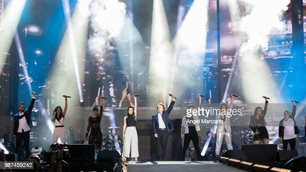 Amaia Romero Raphael and Alfred Garcia perform during 'Operacion Triunfo' concert in Santiago Bernabeu stadium on June 29 2018 in Madrid Spain