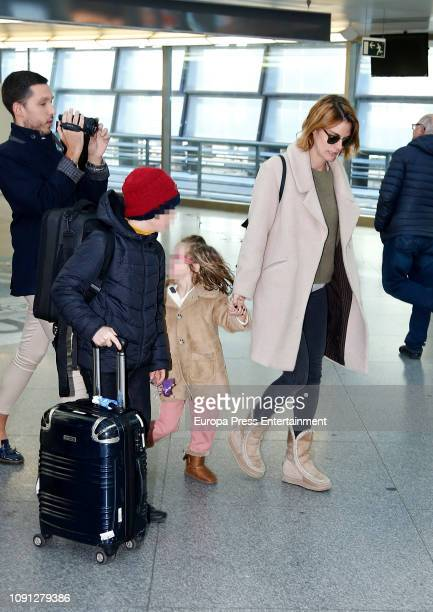 Amaia Salamanca and her children are seen on January 06 2019 in Madrid Spain