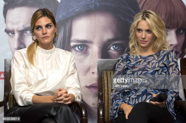 Amaia Salamanca and Luisana Lopilato attend a press conference for 'Perdidas' at the Intecontinental Hotel on April 12 2018 in Buenos Aires Argentina