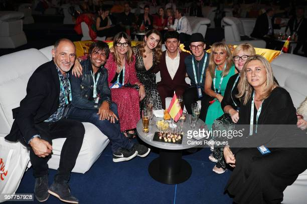 Amaia y Alfred of Spain in the green room during the Eurovision 2018 Grand Final at Altice Arena on May 12 2018 in Lisbon Portugal