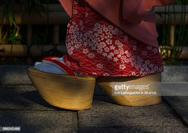 Amaiko called chikasaya walking with her traditional maiko clogs kansai region kyoto Japan on May 27 2016 in Kyoto Japan
