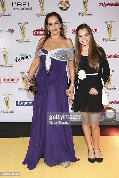 Amairani and Macarena attend the Premios Tv y Novelas 2014 at Televisa Santa Fe on March 23 2014 in Mexico City Mexico